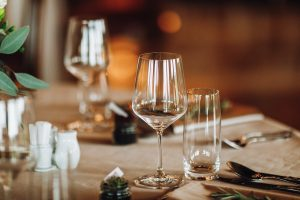 Details Of The Set Table With Focus On Goblets